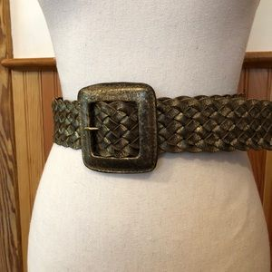 CHICO's Antique Gold Leather Belt, SMALL